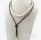 Simple Design White Freshwater Pearl Necklace with Brown Cord