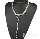 Simple Design Natural Pink Freshwater Pearl Necklace with White Cord