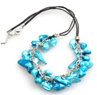 New Arrival Blue Color Teeth Shape Pearl Necklace with Lobster Clasp under $ 4