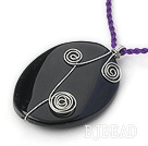 Simple Style Oval Shape gemstone Pendant Necklace with Purple Thread( Random colors )
