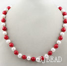 10-11mm Round Freshwater Pearl and Red Coral Beaded Necklace under $ 40
