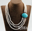 sparkly three strand white pearl necklace with turquoise box clasp