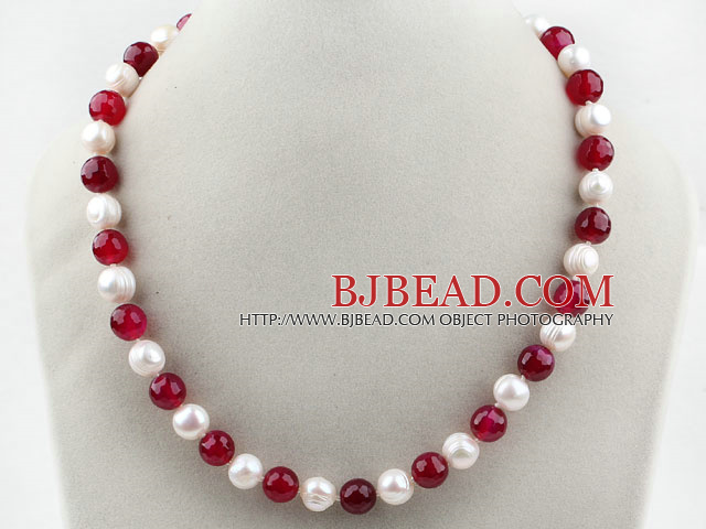 10-11mm Round Freshwater Pearl and Rosy Red Agate Beaded Necklace