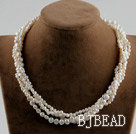 17.3 inches four strand white pearl necklace with moonlight clasp