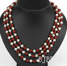three strand 17.7 inches white pearl and red agate necklace with shell flower clasp
