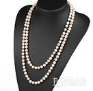 fashion long style 47.2 inches 9-10mm white and pink pearl necklace under $30