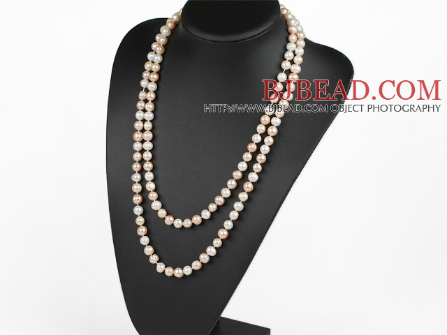 fashion long style 47.2 inches 9-10mm white and pink pearl necklace