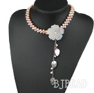 bridal jewelry real pearl choker with flower and leaf charm