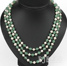 three strand 17.7 inches white pearl and aventurine necklace with shell flower clasp