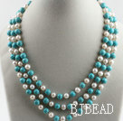 three strand 17.7 inches white pearl and turquoise necklace with shell flower clasp under $ 40