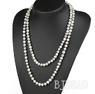 fashion long style 47.2 inches 8-9mm white and grey pearl necklace