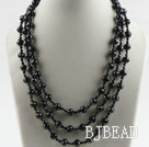 three strand 17.7 inches black crystal necklace with shell flower clasp