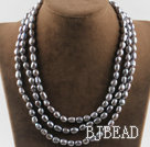 three strand 17.7 inches 8-9mm gray fresh water pearl necklace under $30