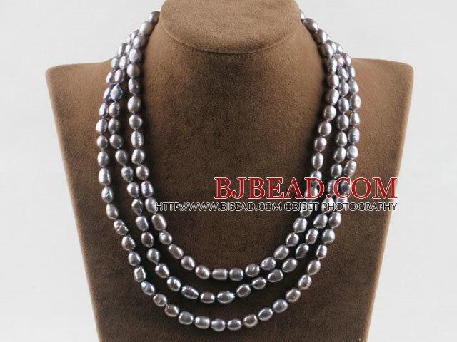 three strand 17.7 inches 8-9mm gray fresh water pearl necklace