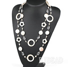 51.2 inches white pearl crystal and flower shell necklace
