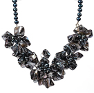 Amazing Black Pearl and Black Shell Flower Necklace with Moonlight Clasp