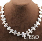 Single Strand White Biwa Freshwater Pearl Necklace with Lobster Clasp
