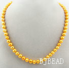 8-9mm Round Yellow Dyed Freshwater Pearl Beaded Necklace