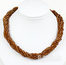 17.7 inches multi strand 4mm red brown crystal necklace with magnetic clasp