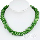 17.7 inches multi strand 4mm green crystal necklace with magnetic clasp
