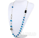 metal jewelry hot blue agate and metal ball charm necklace