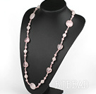 31.5 inches round and heart shape rose quartze necklace