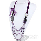 27.6 inches amethyst necklace with purple ribbon