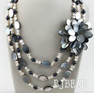 New Design White and Black Pearl and Black Lip Shell Flower Necklace under $ 40