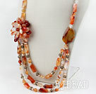 Assorted Pearl and Natural Color Agate Flower Party Necklace under $100