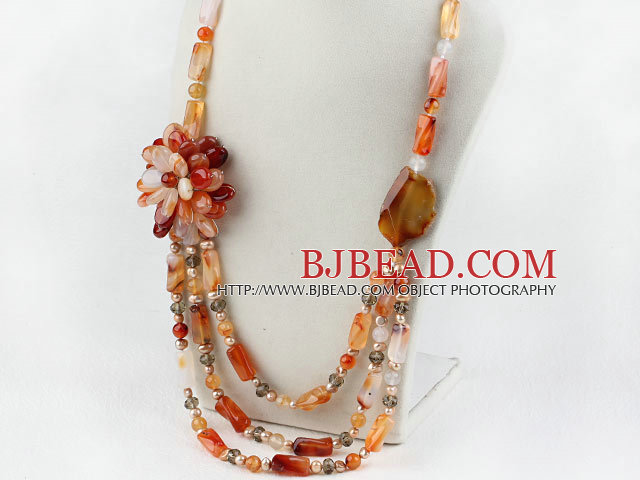 Assorted Pearl and Natural Color Agate Flower Party Necklace