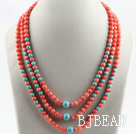 elegant three strand coral and turquoise necklace under $ 40