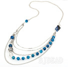 metal jewelry hot design faceted blue agate and metal ball charm necklace