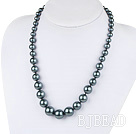 fashion black sea shell graduated beaded necklace with moonlight clasp under $12