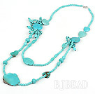 long style round and heart shape turquoise necklace