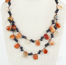 handmade double strand pearl and agate necklace with lobster clasp