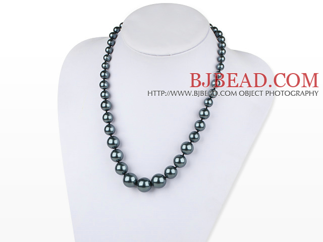 fashion black sea shell graduated beaded necklace with moonlight clasp