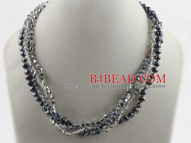 17.7 inches multi strand black pearl and gray crystal necklace with magnetic clasp