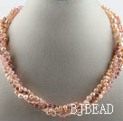 17.7 inches multi strand pink pearl and crystal necklace with magnetic clasp