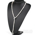 27.6 inches Y shape natural white pearl necklace with butterfly clasp