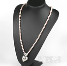 27.6 inches Y shape natural purple pearl necklace with heart charm, butterfly clasp
