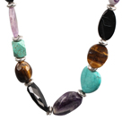 marvelous multistrand colorful pearl and gemstone necklace
