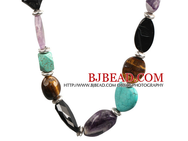 Chunky Style Assorted Amethyst and Turquoise and Tiger Eye Necklace