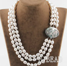 decent three strand white pearl necklace with beauty clasp