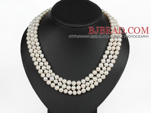 7f45299a556a graciosa tres hebra blanca collar de perlas con cierre de color oro