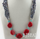 19.7 inches fashion pearl red coral and turquoise necklace under $14