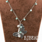 New Design Biały Pearl and Crystal Coin i Metal Butterfly Pendant Necklace