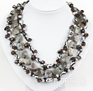 Multi Strand Pearl and Smoky Quartz and Flashing Stone Necklace