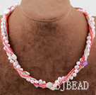 Multi Strand Freshwater Pearl Shell and Glass beads Necklace with Moonlight Clasp
