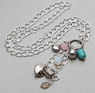 Assorted Multi Stone and Tibet Silver Accessories Pendant Necklace with Metal Chain under $5