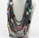 Mulit Strand Black Freshwater Pearl and Multi Stone Necklace